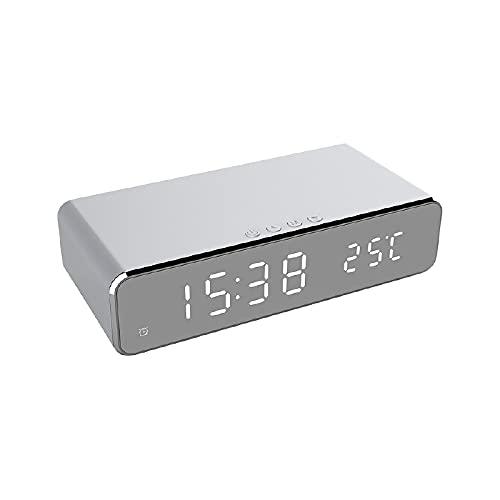 Ruiqas Reloj Despertador LED Eléctrico de Dormitorio con Cargador Inalámbrico de Teléfono Reloj Termómetro Digital de Escritorio Gran Pantalla Blanca de Dígitos (Blanco)