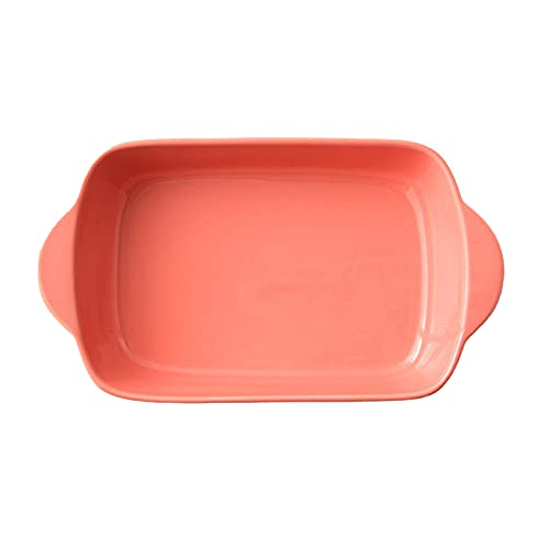 1 Piece Baking Sheets Nonstick Binaural Ceramics Square Dish Microwave Oven Available Orange