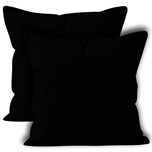 Encasa Homes Housses de Coussin Lot de 2 (60 x 60 cm) - Noir - Doux Coton Toile Teint Rectangulaire Taie Oreillers Coloré Decoratif pour Maison Decor Salon Chambre Canapé Lavable - importé