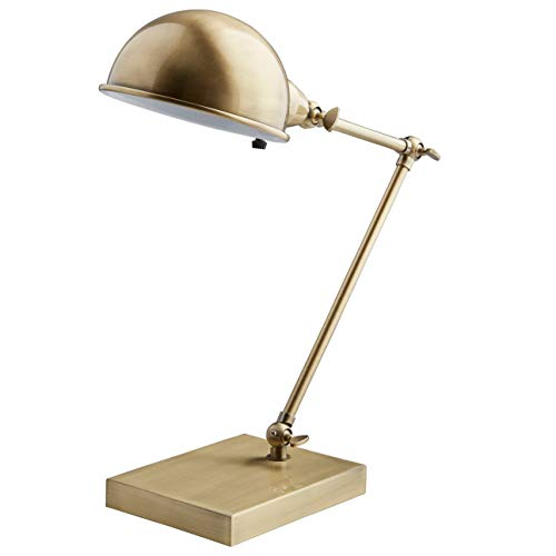 Stone & Beam Vintage Task Table Desk Lamp With LED Light Bulb - 6.5 x 10 x 14 Inches, Antique Brass