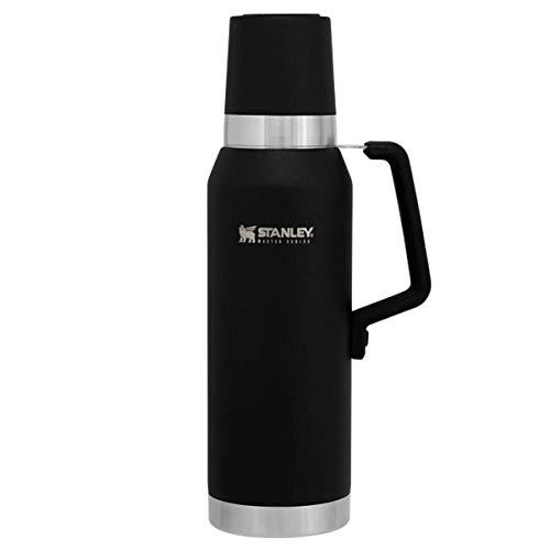 Stanley Master Series Vakuum-Thermoskanne, 1.3 Liter, Schwarz, 18/8 Stainless Edelstahl, 40 Stunden heiß 35 Stunden kalt, Edelstahlgriff, Doppelwandige Isolierung, Isolierflasche