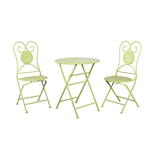ZWJLIZI Mesas y sillas Plegables, mesas de café Plegables al Aire Libre nórdicas, balcón Simple/terraza/jardín Portátil de Hierro Forjado Mesa Redonda pequeña (Color : B, Size : 1 Table+2 Chai