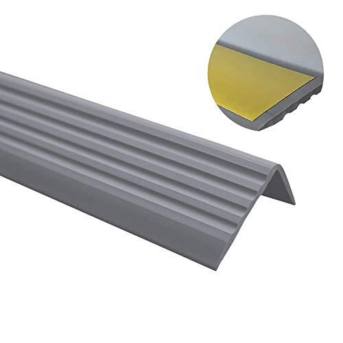 Quest Treppenkantenprofil Selbstklebend PVC Kunststoff Anti-Rutsch Abschlussprofil Winkelprofil, Kantenschutz 40x25, Dunkelgrau, 80cm