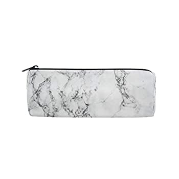 AUUXVA Pencil Case Geometric Marble Texture Pattern Pencil Bag Pen Zipper Bag Pouch Organiser Makeup Brush Bag for Girls Kids School Student Stationery Office Supplies