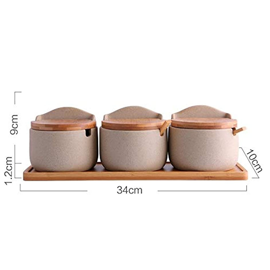 Japanese Style Coarse Pottery Spice Jars Ceramics Gravy Boats Bamboo Cover Storage Box Container Oil Salt Soy Sauce Cans Kitchen