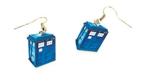 Gemelolandia   Pendientes Doctor Who Cabina Tardis 23x13mm   Complementos de Bisutería Originales Unisex Para Hombres y Mujeres   Accesorios, Regalos Únicos Para Todas Las Edades