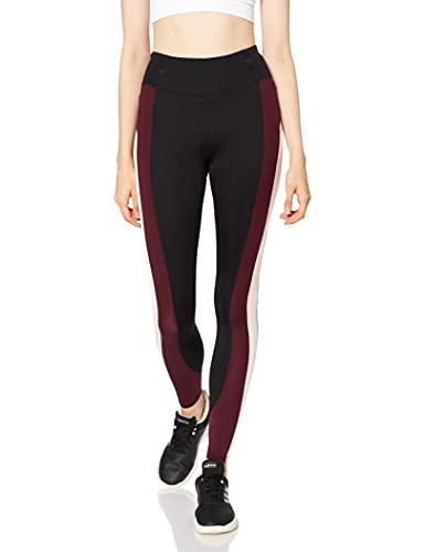 Marchio Amazon - AURIQUE Leggings Sportivi Colour Block A Vita Alta Donna, Nero (Black/Port/Blush), 42, Label:S