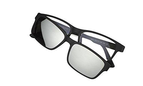 Preisvergleich Produktbild My Blue Protect® blaue Lichtschutzbrille,  auffällige Brille,  Ermüdung der Augen,  UV-Filter (The Classic) schwarz matt mattschwarz mit silbernem Solarclip.