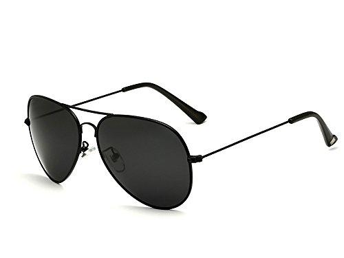 VEITHDIA Gafas de sol polarizadas deportivas para hombre, protección UV, para esquí, golf, correr, ciclismo, lentes polarizadas para hombre y mujer con funda incluida 3026 (Negro-negro, 63)