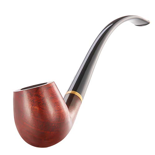Joyoldelf Tobacco Pipe, Churchwarden Rosewood Smoking Pipe with Pipe Stand, Pipe Bit, 3-in-1 Scraper, Pipe Filter, Cork Knocker, Metall Ball & Delicate Gift Box