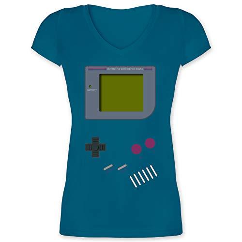 Nerd Geschenke - Gameboy - L - Türkis - 90er Jahre Tshirt Damen - XO1525 - Damen T-Shirt mit V-Ausschnitt