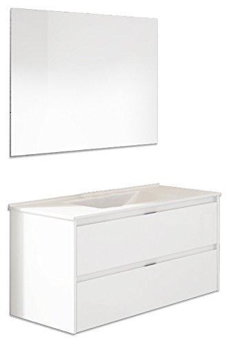 Platos de ducha y mamparas Conjunto Naima_PdM_ Mueble + encimera cerámica + Espejo Liso (Blanco Brillo, 120cm)