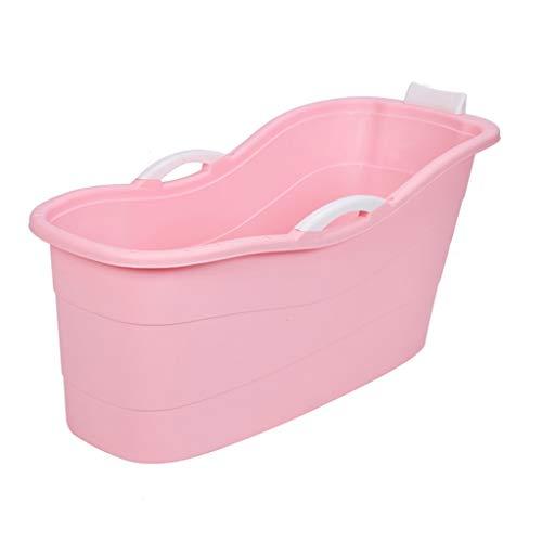MGMDIAN Cubo de baño Plegable for niños bañera de Gran tamaño bañera for bebés bañera de baño for niños bañera for Sentarse (Color : Pink, Size : 130x55x64cm)