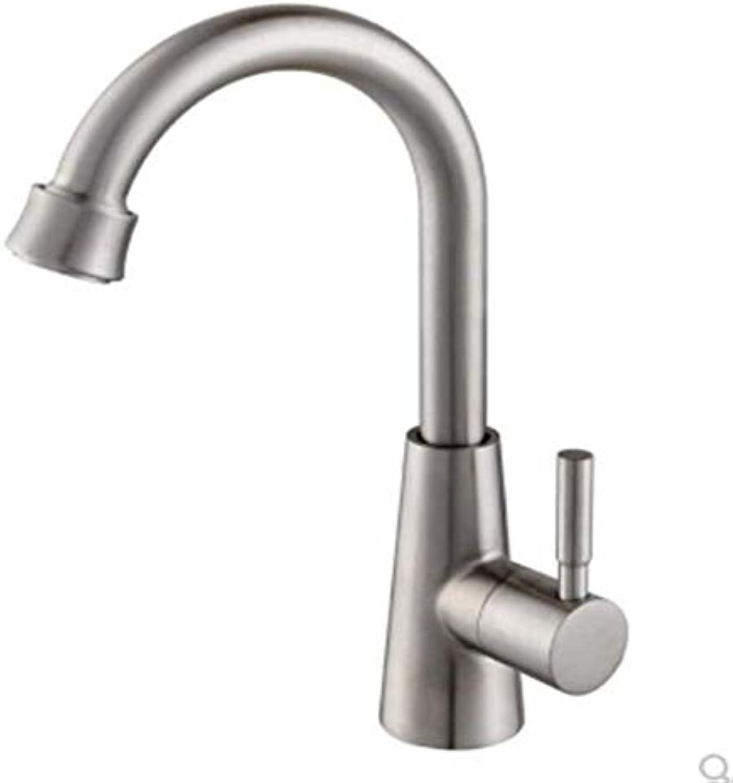 Wasserhahn Moderne überzogene Küche Badezimmerhahn Becken-Hahn-Edelstahl-Waschbecken-Keramisches Einzelnes Loch-Drehender Waschwasserhahn