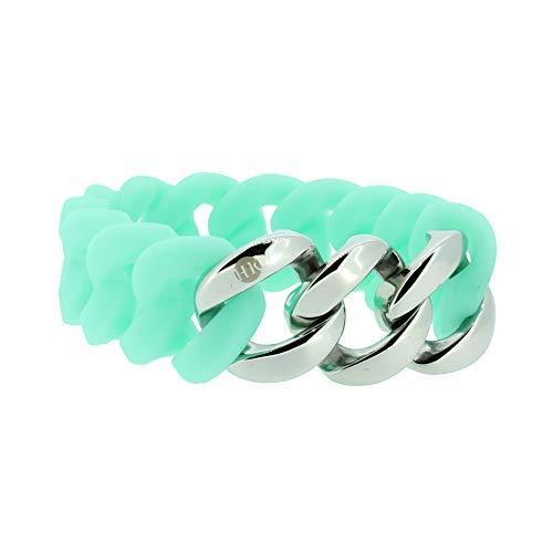 Hanse-Klunker Armband Damen ORIGINAL Silikon Türkis, Edelstahl Silber Armreif Armkette Frauen Mädchen Größe 18-19 cm inkl. Schmuck-Geschenk-Box