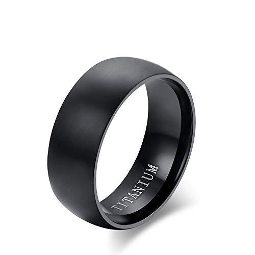 LABIUO Herrenmode Edelstahl Titanring Einfacher Diamantring Mit Gravur,Schwarz(Schwarz,11)