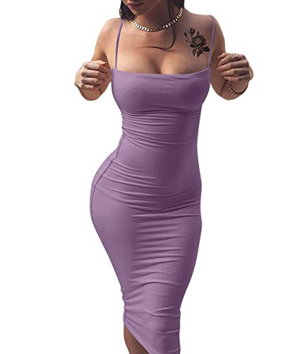 GOBLES Women's Sexy Spaghetti Strap Sleeveless Bodycon Midi Club Dress Lavender