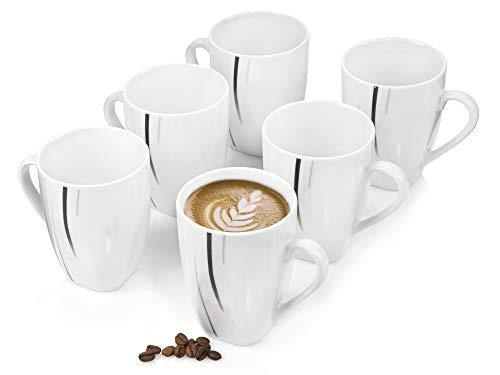 Sänger Kaffeebecher Set 'BilgolaBlack Lines' aus Porzellan 6 teilig - Füllmenge der Tassen350ml - Perfekt aufeinander abgestimmtes Set - Ergänzbar um viele weitere Sets derBilgolaBlack Lines Serie