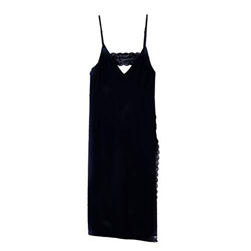 HuntDream Womens Spaghetti Strap Lange Cami Slip Kleid ärmellose Nachthemden