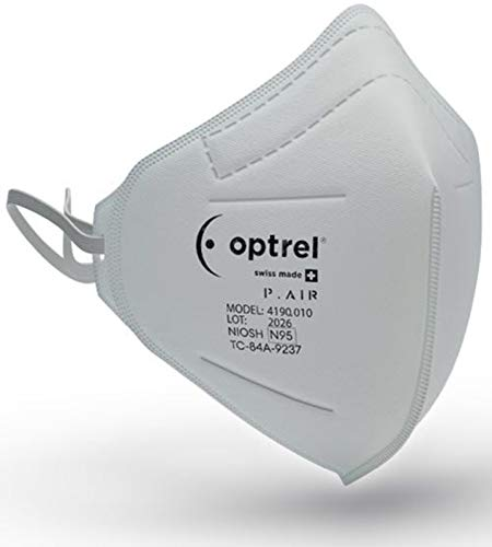 Optrel P.AIR N95 NIOSH Swiss Made Respiratory Mask N95 Particulate (400 Pieces- 10 Boxes of 40 Masks)