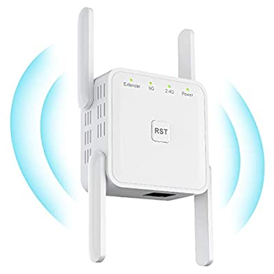 Wifi Extender Wifi Booster Wireless 1200Mbps WiFi Range Extender 5Ghz 867Mbps & 2.4GHz 300Mbps, WiFi Signal Boosters Wireless Router Extender for 10 Devices, 4 External Antennas, Plug and Play