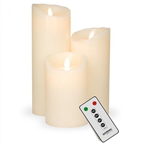 sompex Flame Echtwachs LED Kerze, fernbedienbar, Elfenbein - in verschiedenen Größen, Höhe:3er Set (12.5-23cm + Fernbedienung)