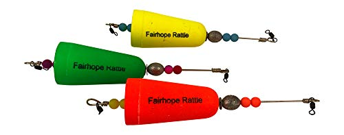 Fairhope Rattles Weighted Popping Cork Good for Saltwater or Freshwater Fishing -Pack of Three Floats