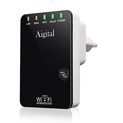 Aigital Repetidor WiFi, Extensor de Red WiFi, Amplificador WiFi 300 Mbit/s, 2.4GHz, Inalámbrico Señal Extensor con Botón WPS, 2 x Antena Interna, 2 Puertos Ethernet, EU Enchufe, Fácil de Configurar