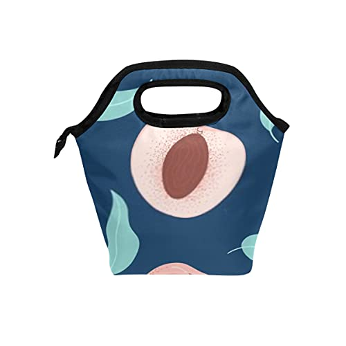Wiederverwendbare Lunch-Tasche und Kühltasche Nahtloses Muster Reife Pfirsiche Saftige Früchte Weiche Kühltasche für Alltagsaktivitäten Ideal für Camping im Freien oder Spiele