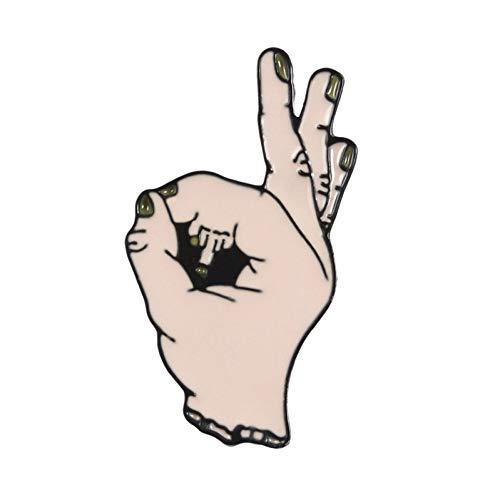 FSAKLFS Okay !Kreis Spiel Meme Hand Finger Hut Pin Horror Mittelfinger Rose Kaffeetasse Emoticon Anstecknadeln Abzeichen Broschen