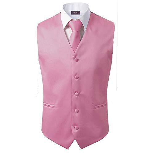 3 Stück Weste + Krawatte + Einstecktuch Herren Mode formell Kleid Anzug Slim Smoking Weste Mantel - Pink - X-Large