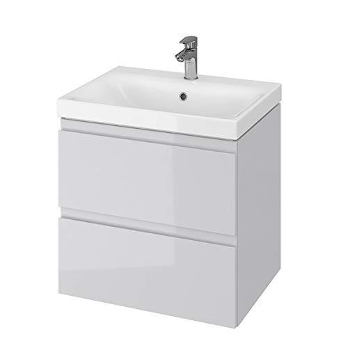 VBChome Badmöbel 60 cm Grau Waschbecken mit Unterschrank Waschtisch 2-Schubladen Moduo