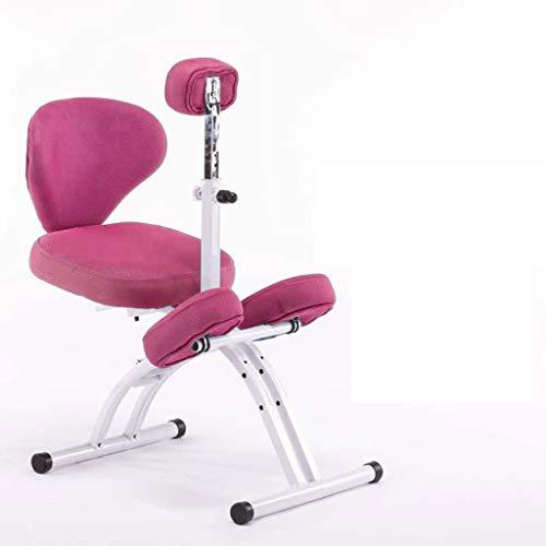 LIUBINGER Drehbarer Bürostuhl Kniestuhl, ergonomischer Computerstuhl, Lernen Stuhl mit Lifting Haltungskorrektur for Kinder, Geeignet for 110-180cm (Color : Pink)