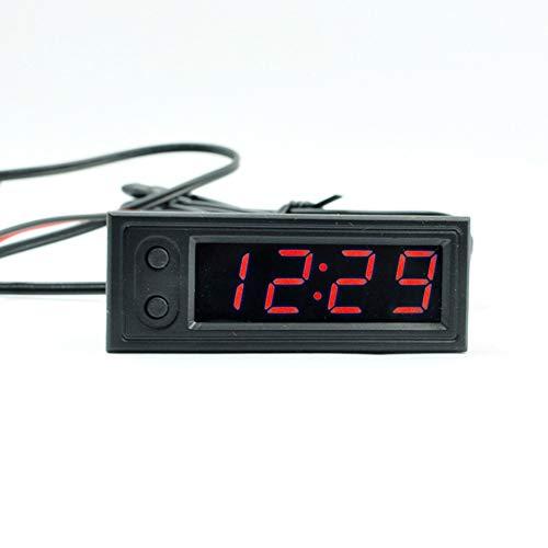 Voltmetro Orologio Termometro 3 in 1 12V Auto Digitale Impermeabile Antiurto CC 12V LED Display Digitale Voltometro LED per Motociclo Auto