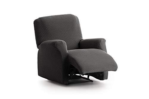Textil-home Stretchhusse für Relaxsessel Komplett Marian, Elastisch Bezug für Fernsehsessel Liege - 1 Sitzer - 70 a 100Cm. Farbe Schwarz