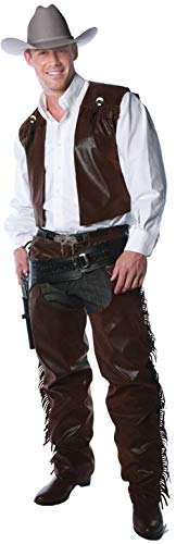 Men's Western Cowboy Chaps and Vest Costume Set Teen 14-16 Brown