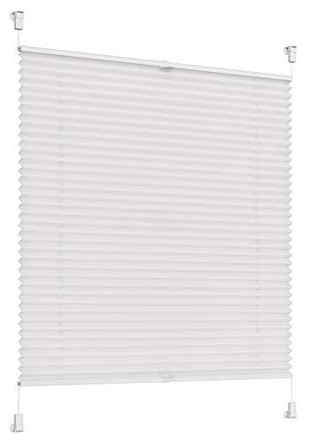 Sonello Plissee Klemmfix ohne Bohren 75cm x 100cm Weiß Faltrollo Plisseerollo Jalousie für Tür & Fenster Blickdicht Sichtschutz Sonnenschutz Fertifplissee Rollo
