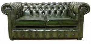 Designer Sofas4u Chesterfield 2plazas Verde Antiguo sofá de Cuero ofrecen