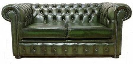 Designer Sofas4u Chesterfield 2 plazas Verde Antiguo sofá de ...