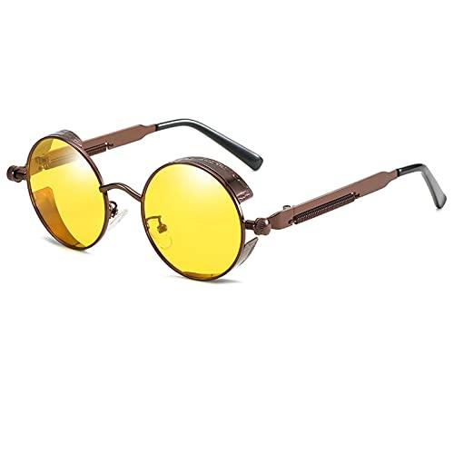 CYYMY Prima de aleación Al-MG Ronda Retro Gafas de Sol polarizadas UV400, bisagras de Resorte duplicadas Completas Gafas de Sol para Hombres Mujeres,Amarillo