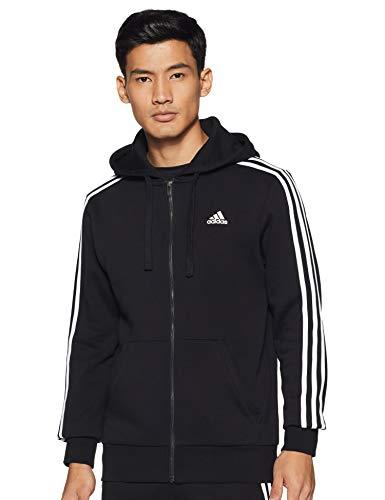 adidas Herren Essentials 3 Streifen Kapuzenpullover, Black/White, XS