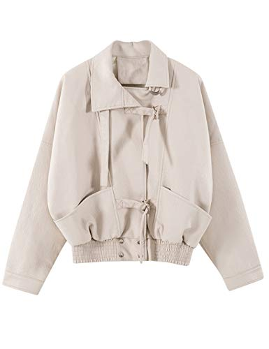 Sungtin Women's Classic Short Faux Leather Jacket Loose PU Moto Biker Coat Outwear White Small PY22