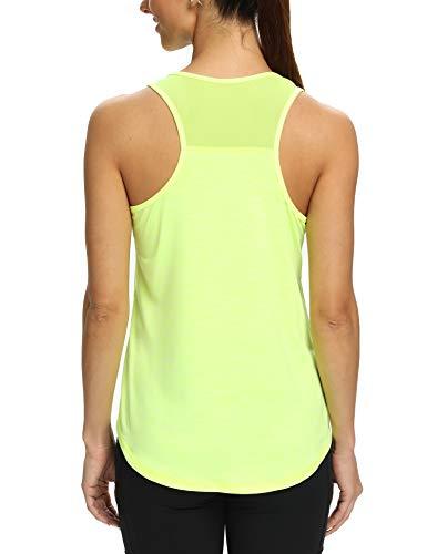 Aeuui Workout Tank Tops for Women Sleeveless Racerback Mesh Yoga Shirts Athletic Sports Running Tops Fluorescent Yellow