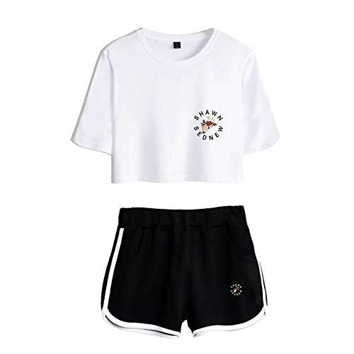 JJZHY JJZHY Freund Shawn Mendes Mode einfaches Crop Top und Shorts Set,A,XS
