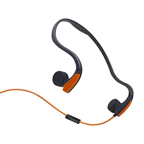 Auriculares de conducción ósea Auriculares con cable con micrófono Auricular estéreo con oreja abierta y micrófono con reducción de ruido Para los deportes que escuchan Ciclismo Correr Gimnasio,Orange