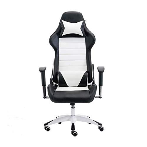 WSDSX Desk Chair,Drehstuhl Computer Gaming Drehstuhl Lifting Bürostuhl Kann Sich mit Kopfstütze mit hoher Rückenlehne und Lendenkissen in Weiß hinlegen