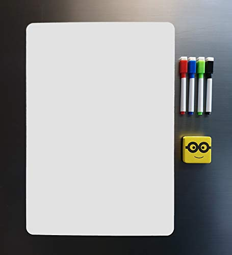 Store2508 Magnetic White Board Sheet 43x30 cm Dry Erase Includes 4 Markers & One Duster Can Be Stuck on Refrigerator or Any Metal Surface.