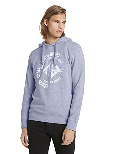 TOM TAILOR Denim Herren 1024417 Logo-Print Hoodie Sweatshirt, 15398-Light Stone Grey Melangé, L