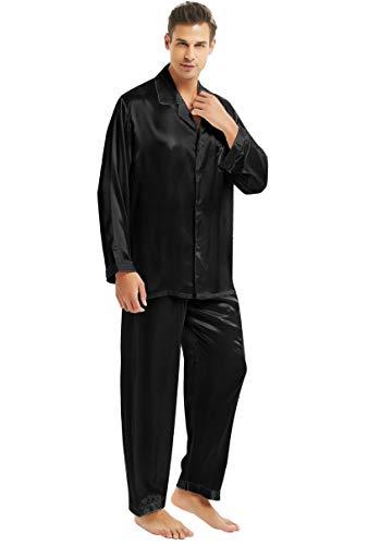 Herren Seide Schlafanzug Pyjama Schwarz Large