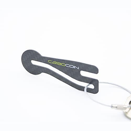 Code24 Einkaufswagenlöser Carbocoin - Praktischer Einkaufschip aus Carbon für Seitenlader Schlüsselanhänger & Schlüsselfinder Anhänger, inkl. Registriercode für Schlüsselfundservice, Key-Finder